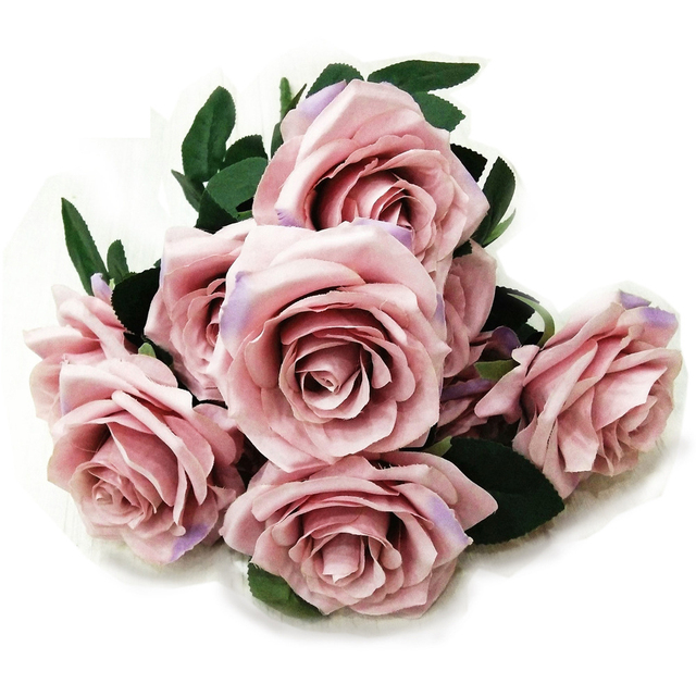 10 Head French Roses Artifical Silk Flower Wedding Bouquet Office Home Decors Flower for Wedding Decoration Valentine's Day
