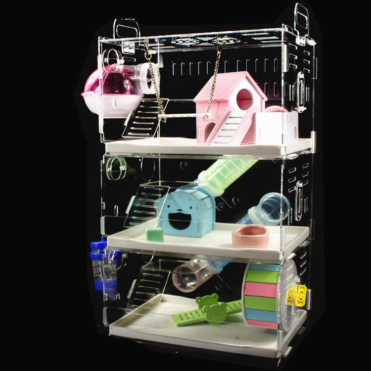 Hamster Cage Drawer  External Bathroom Double Transparent Large Villa Supplies Package