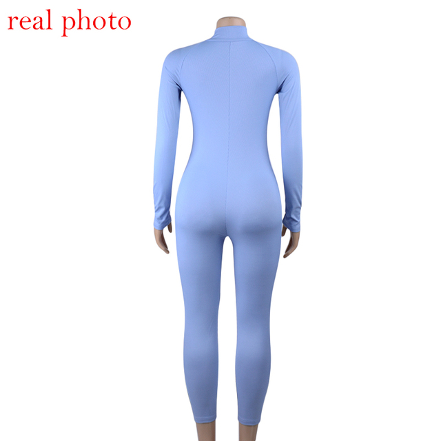 Simenual Ribbed Fitness Active Wear Rompers Womens Jumpsuit Zipper V Neck Sexy Fashion 2019 Long Sleeve Workout Sporty Jumpsuits 5