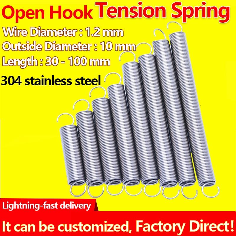 Diâmetro exterior do fio da mola da tensão da mola da extensão da bobina helicoidal cilíndrica 1.2mm 10mm mola de tração da mola do recuo
