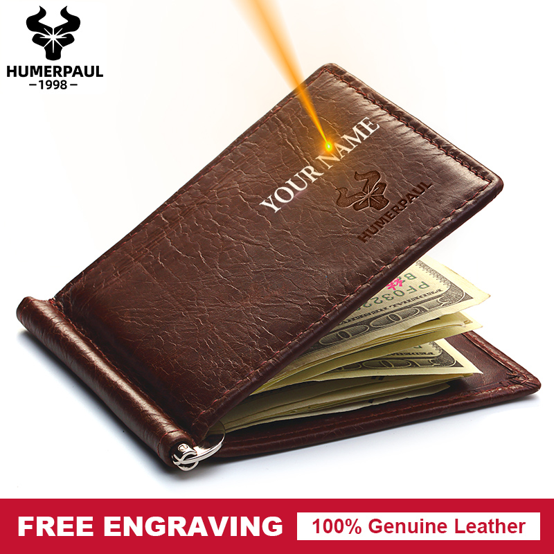 Famous Brand Men Genuine Leather Bifold Male Purse Billfold Wallet Money Clip Male Clamp Slim Money  Purse Free Engraving