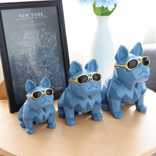 Nordic Geometric Origami Creative Resin Glasses Lucky Dog Piggy Bank Home Decoration