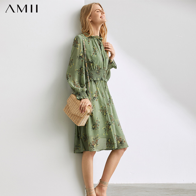 Amii  French Smoked Platycodon Dress Female Summer 2019 Avocado Green Band Printed Chiffon Skirt 11940434
