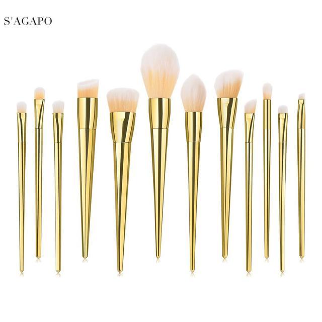 7/12pc Rose Gold Makeup Brushes Set tool for Eyeshadow Eyebrow Fundation Powder Concealer Blush Long handle Makeup maquiagem 1