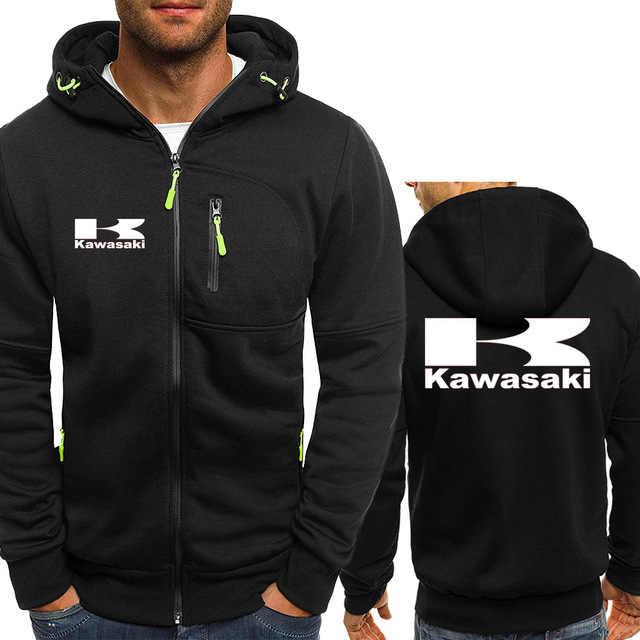 Kawasaki Motor Hoodies Winter Camouflage sleeve Jacket Men