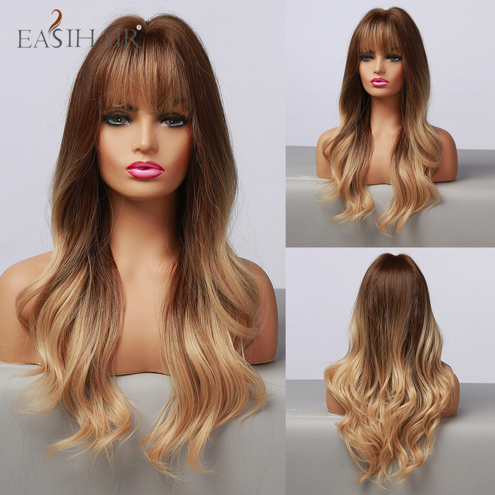 EASIHAIR Ombre Brown Honey Blonde Long Wavy Synthetic Wig with Bangs Cosplay Wigs for Women Party Daily Natural Heat Resistant