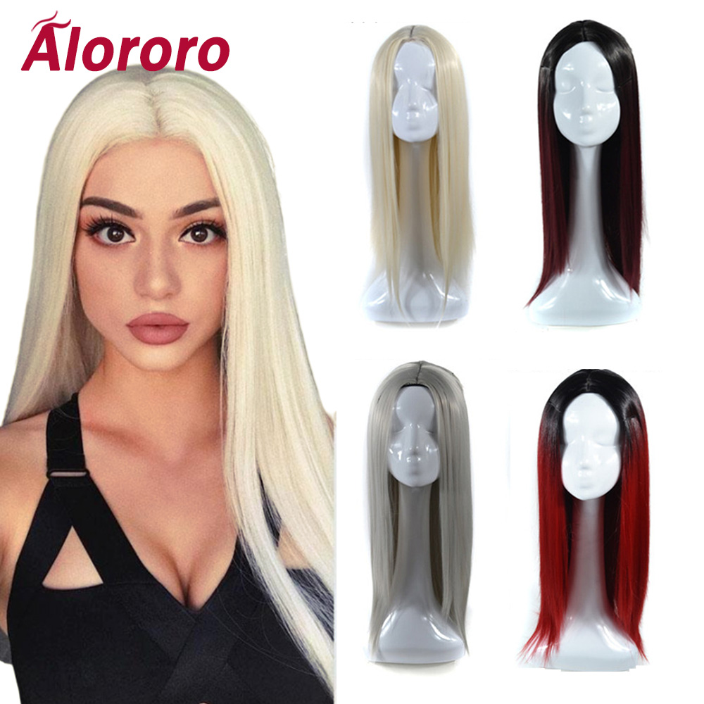 Alororo New Style White Gray Long Straight Hair Wigs For Black Women And Wihte Lady Ombre Synthetic Hair Wig Free Shipping