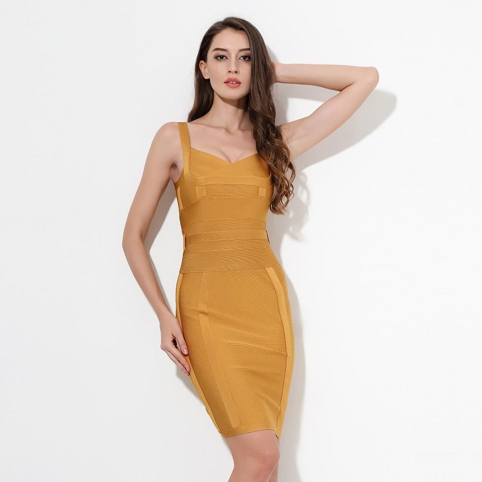 2019 Autumn New Women Sleeveless Bandage Dress V Neck Sashes Dress Sexy Bodycon Celebrity Party Yellow Christma Dress Vestidos