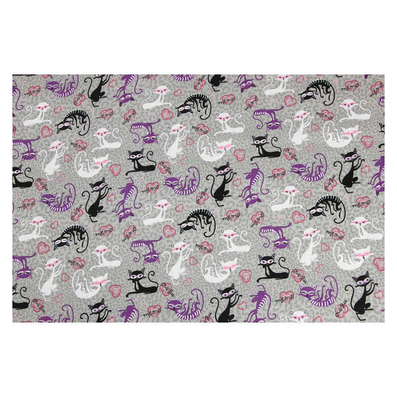 Pół metra gładka tkanina bawełniana z kot kreskówkowy wydruku ręcznie do ubrania DIY sukienka tkanki 100% bawełna CR-286