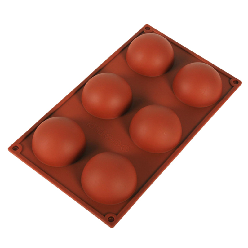 3D 6-Holes Half Ball Silicone Chocolate Mold Sphere Cake Baking Mold