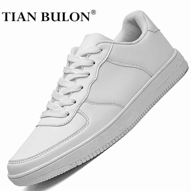 Projektant białe buty skórzane mężczyźni wysokiej jakości Hip Hop mężczyźni obuwie luksusowe marki zasznurować oryginalne trampki Zapatillas Hombre