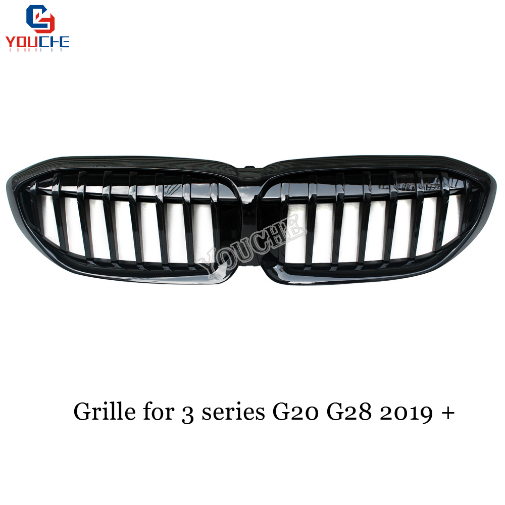 G20 1-Slat Front Grille Replacement ABS Kidney Grille for BMW New 3 Series G20 G28 2019 + Gloss Black Racing Grills image