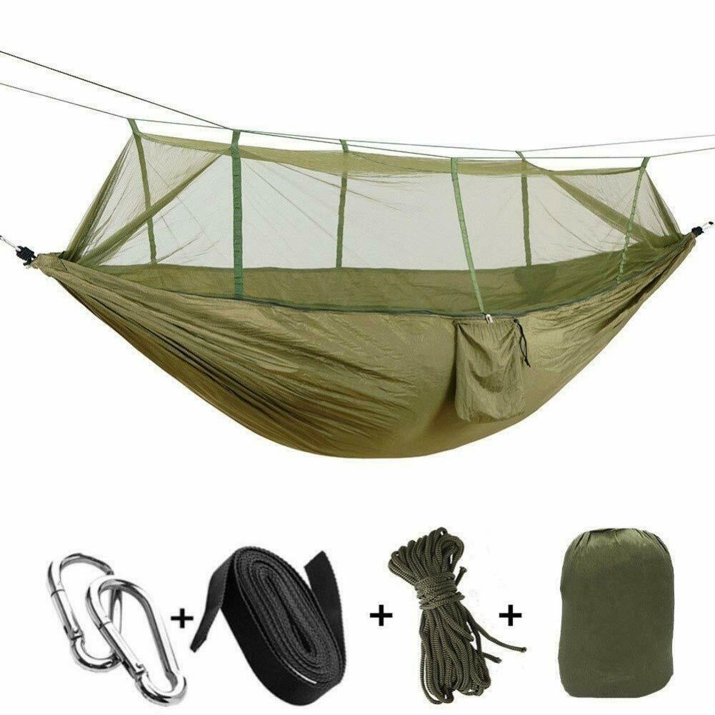Camping Hammock Chair With Mosquito Net Bug Insect Net Portable Hiking Sleep Mat