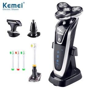 Image 1 - Golarka elektryczna Kemei 4D pływające potrójne ostrze elektryczne maszynki do golenia mężczyzn pielęgnacja twarzy zmywalny akumulator 4 w 1 trymer do włosów 40D
