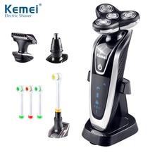 Kemei rasoir électrique 4D flottant, Triple lame, rasoir électrique pour hommes, Rechargeable 4 en 1, tondeuse à cheveux, soins du visage, 40D