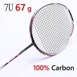 Ракетка для бадминтона профессиональная углеродная ракетка для бадминтона 22-28 фунтов бесплатно Грипсы натянутые 6U 72g, 7U 62g