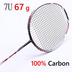 مضرب بدمنتون المهنية الكربون مضرب بدمنتون 22-28 رطل قبضة مجانية متوترة 6U 72g ، 7U 62g