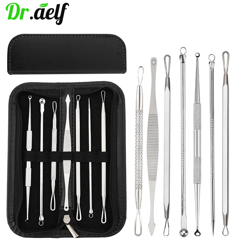 7PCS/set Stainless Steel Comedone Acne Blackhead Remover Needles Extractor Pimple Blemish Skin Face Care Tools Clip Spoon Kit