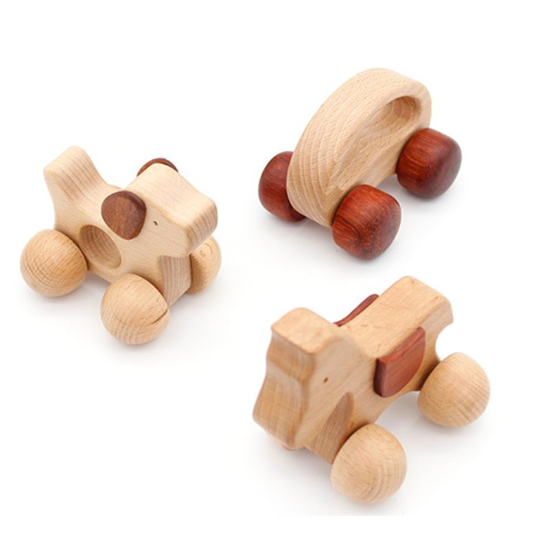 3 stücke Push scroll Holz Baby Pferd und Hund Spielzeug Auto Set für Kleinkinder 1 jahr alt