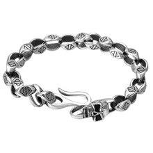 925 Sterling Silver Fashion Punk Rock Skull Chain Bracelet Jewelry Women Men Bracelet Bangle punk style multilayered paw skull sweater chain for women