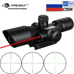Fogo lobo 2.5-10x40 riflescope vermelho verde iluminado tático com laser vermelho scope caça óptica pistola de ar escopo vista