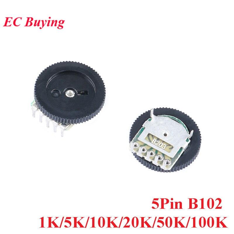 10 шт. 1 K/5 K/10 K/20 K/50 K/100 K B102 потенциометр с двойным потенциометром 5pin для радио MP3/MP4 переключатель регулировки громкости
