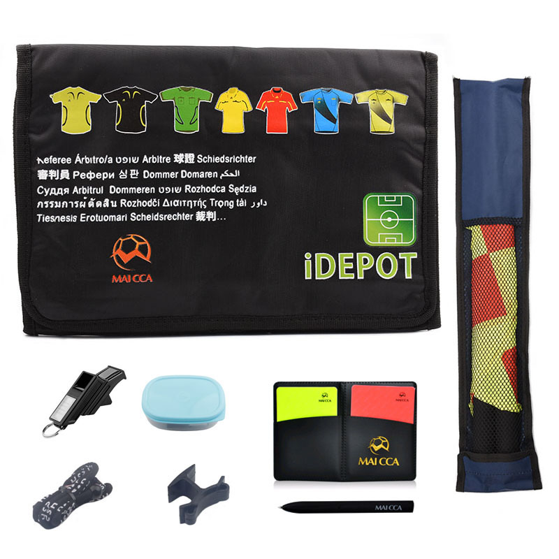 Professional Soccer Referee Wallet Bag Red Yellow Cards Pencil Whistle Sports Bags Football Referee Flag Coach Equipment