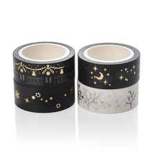 4Pcs 15mm Gold Silver Foil Paper Masking Tape Vintage Moon Decorative Adhesive Washi Tape Scrapbooking DIY Creative Stationery moamm paper rose gold decorative foil glitter washi tape masking tape japanese stationery scrapbooking office supplies