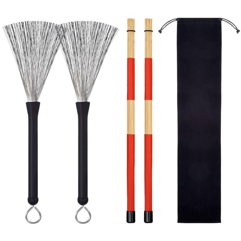 1 Pair Drum Brushes Retractable Wire Brushes Drums Drum Sticks Brush + 1 Pair Rods Drum Brushes Sticks Drum Stick Set