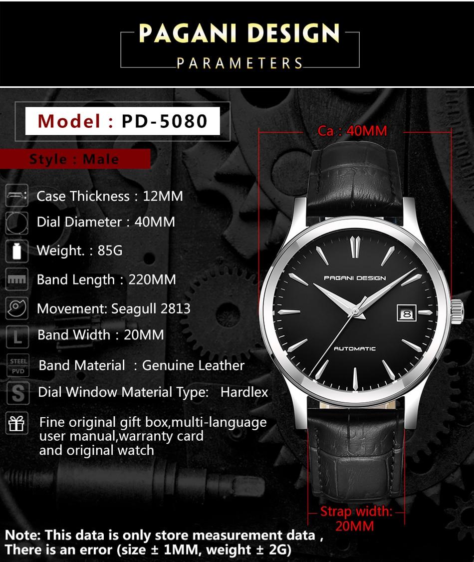 Pagani design 2019 novo clássico masculino relógios