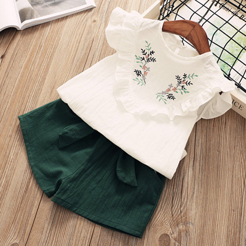Menoea Kids Clothing Sets 2020 Summer New Brand Girl's Suits Sleeveless T-Shirts+Pants Fashion Style Childrens Clothing Suits