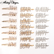1PCS Fashion hiny Rhinestones Letters Hair Clips Girl Tie Shining Letter Hairpins Crystal S Hairgrip Pearl Accessories