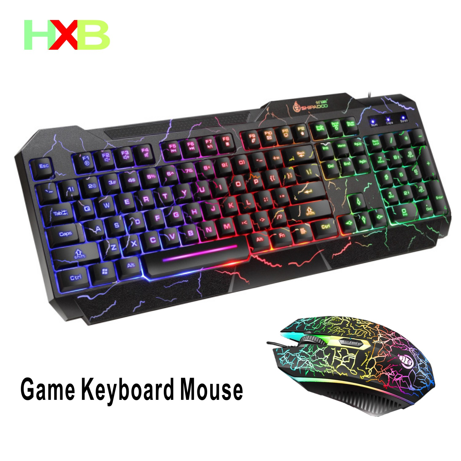 HXB Mouse Keyboard Luminous Backlight Keyboard Mouse Combo Wired Mouse And Keyboard Anti-splash Gaming Keyboard And Mouse For Pc