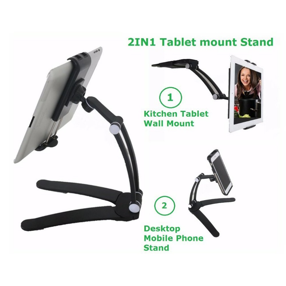 360 Rotating Mount 2 in 1 Flexible Lazy Bracket, Pull-Up Desktop/Wall Cell Phone Tablet Holder Stand Adjustable for Bed Kitchen