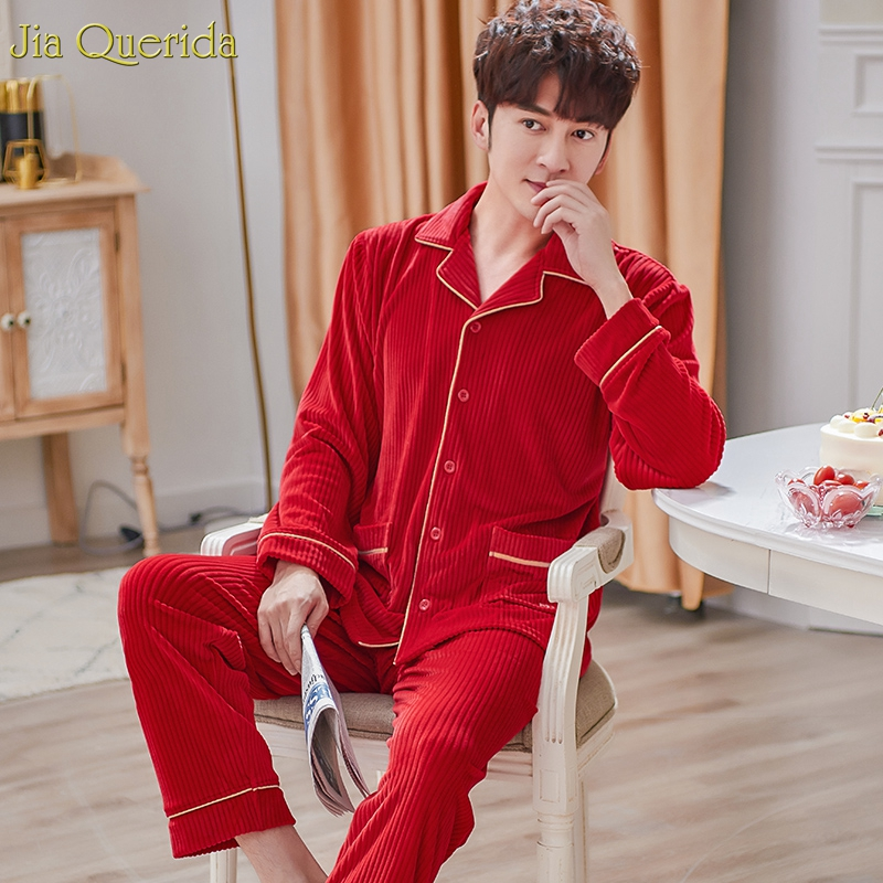 Pajama Men Flannel Home Wear Bright Chinese Red Pajamas High Quality Winter Warm Sleepwear Couple Matching Pajama Set Embroideay