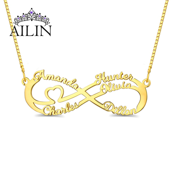 цена на AILIN 2020 5 Names Custom Family Name Nacklace 18K Gold Plated Stainless Steel Infinity Nameplate Necklace Mother Jewelry Gifts