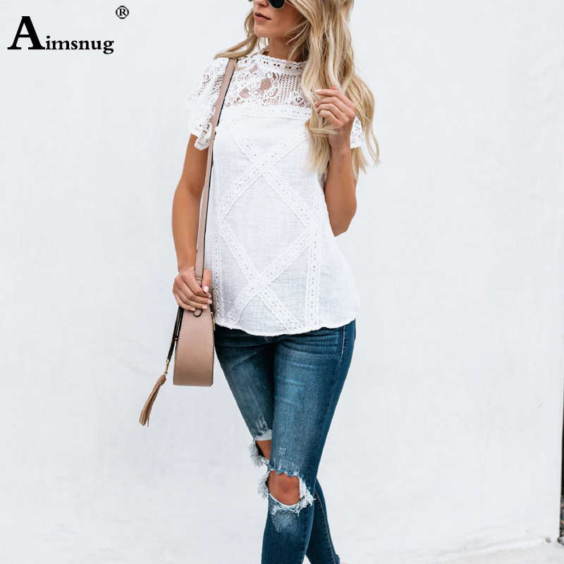Hb50efcc7eac64b1fa801b7b9333947116 - Aimsnug Women White Elegant T-shirt Lace Patchwork Female O-neck Hollow Out Shirt Summer New Solid Casual Women's Tops