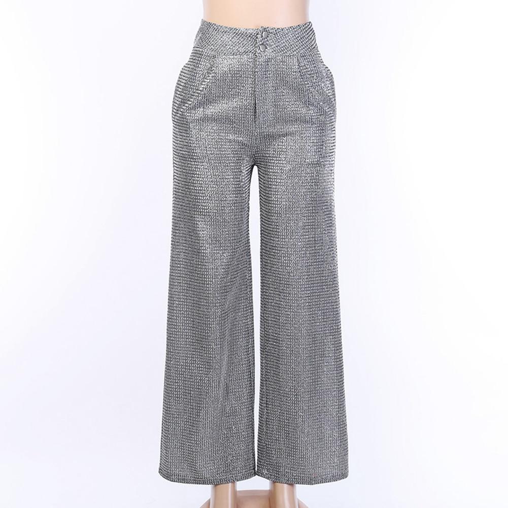 Women's High Waist Glitter Wide Leg Pants Night Out Clubwear Women Party Clothes Summer Trousers