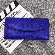 أصيلة التمساح جلد المرأة محفظة بطاقة كبيرة حقيقية جلد التمساح سيدة طويلة المنظم محفظة ثلاثية الطي الإناث حقيبة صغيرة