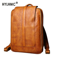 Vintage Leather Backpack Men's Travel Backpack Casual 14 15.6 Inch Laptop Backpack Fashion Men Bag Schoolbag New Genuine Leather