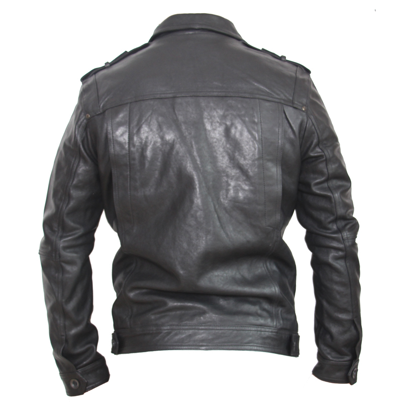 Brand Genuine Jacket Men Suit Black Veg Tanned Goatskin Clothing Man Leather Coat Autumn 146