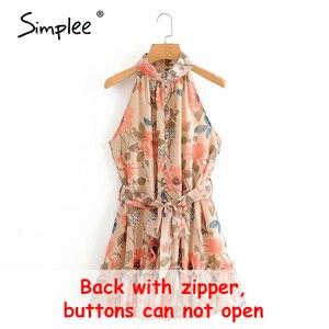 Image 5 - Simplee Sexy vestido de mujer sin mangas liso con volantes botones de fajín fiesta verano vestido Casual vacaciones señoras gasa playa mini vestido