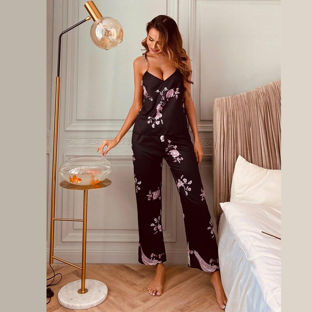 Simple Sleepwear Womens Sexy Lingerie Satin Pajamas Flower Print Camisold Pants Set Sling Nightwear|Pajama Sets| - AliExpress