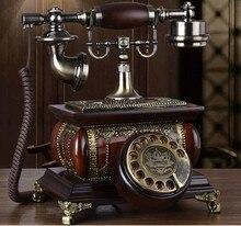 Moda de madeira maciça fxed telépho doméstico rotativo telefone antigo qualidade do vintage