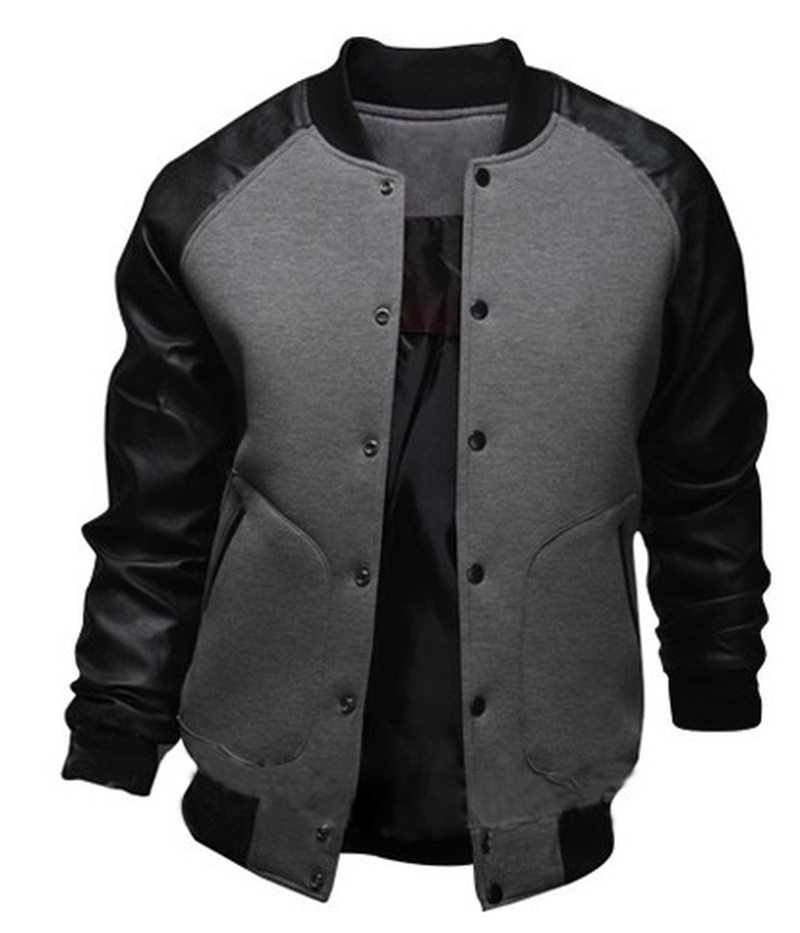 ZOGAA Mens Baseball Jackets 2019 Autumn Fashion Slim PU Leather Coats Patchwork Stand Collar Single-breasted Jackets With Pocket