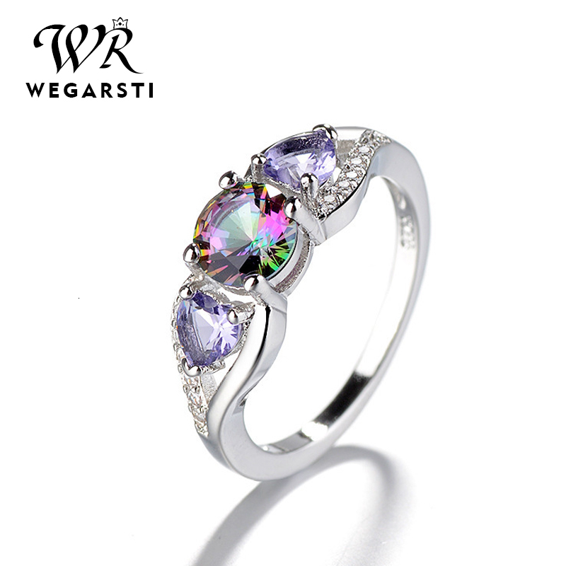 WEGARASTI Silver 925 Jewelry Ring  Woman Zircon Trendy Classic 925 Sterling Silver Rings Jewelry Wedding Engagement Gift