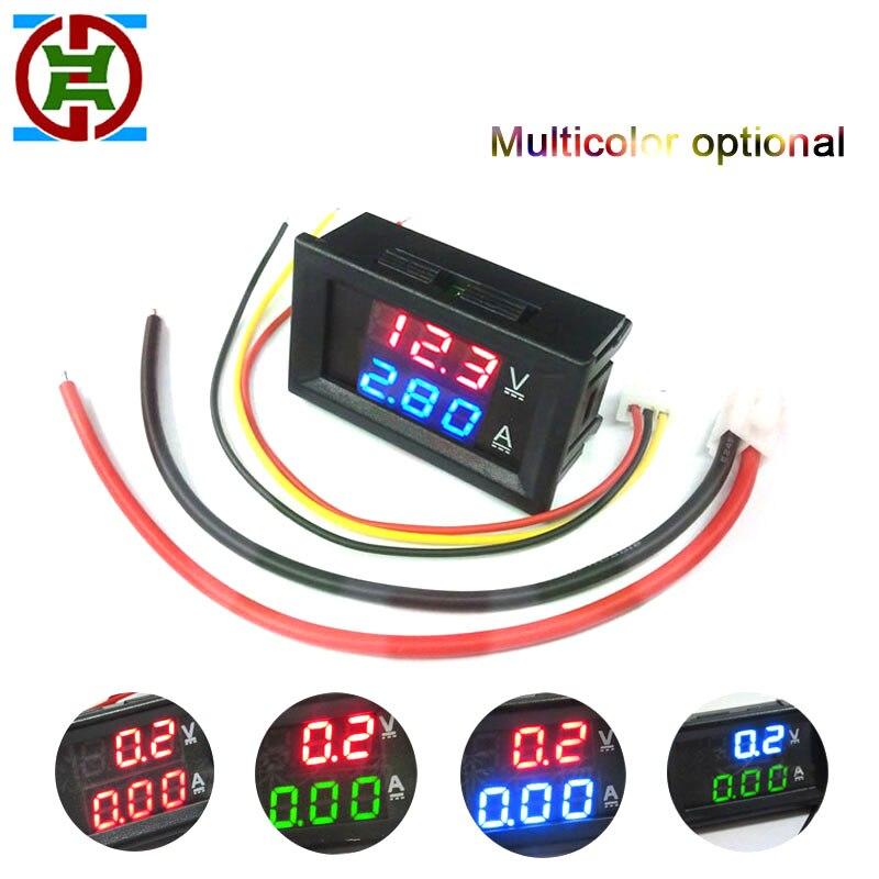 Цифровой мини-вольтметр YDT, 100 В постоянного тока, 1 А, 10 А, 50 А, 0,28 А, амперметр, измеритель тока, тестер дюйма, синий, красный, двухцветный СВЕТО...