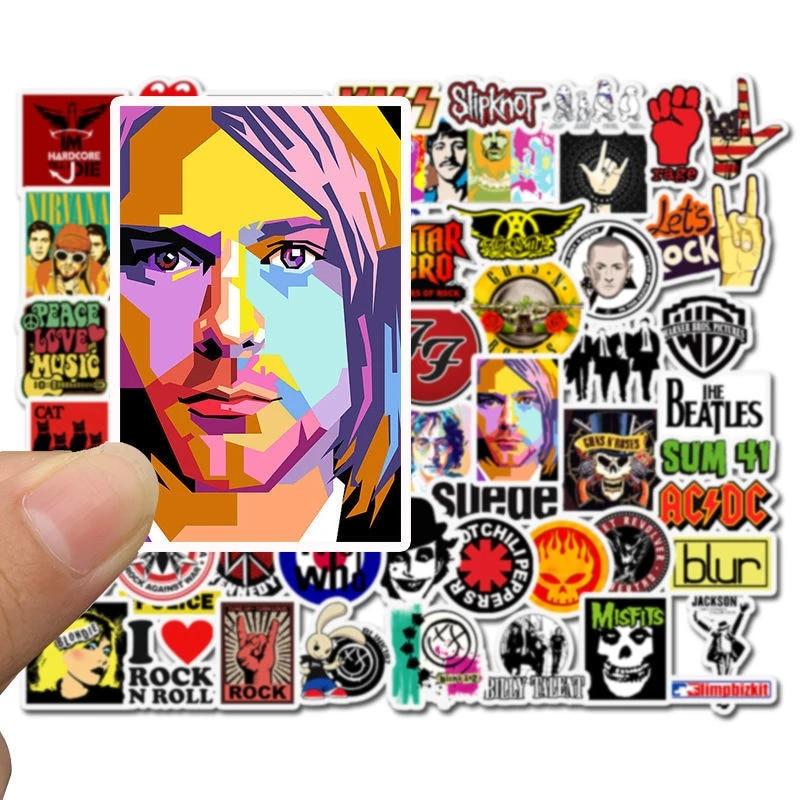 10/52PCS Rock Roll Band Music Graffiti Guitar Sticker Notebook Mobile Phone Water Cup Skateboard DIY Refrigerator Case Trolley