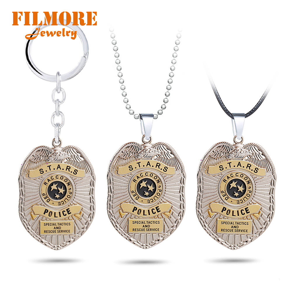 Biohazard Raccoon City Police Badge Keychain Biological Hazard Pendant Necklace Umbrella Charm Keychains Necklaces Gifts Jewelry
