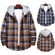 Markyi 2020 новые клетчатые рубашки с капюшоном для мужчин повседневные